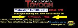 Burlington Toy show Saturday October 8th 2016 Free admission