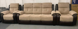 Cord fabric 3 seater sofa & 2 x recliner Armchairs