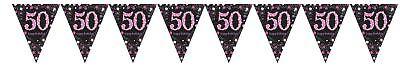 Rosa Glänzend 50th Birthday Prismatisch Wimpel Banner Partydekorationen 4m ()