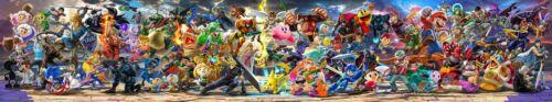 "Super Smash Bros Ultimate Poster 130x24"" 108x20"" DLC Banner Print Silk"