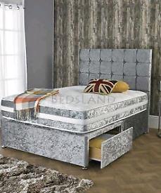 Beige velvet double bed base and headboard.