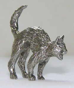 Cat Kitty with Arched Back Hissing Pewter Figurine