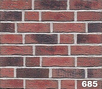 Brick tile: Antik; red/black flamed, dapped color ref 685WDF, Hand molding