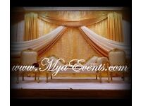 Wedding stage decoration hire £299 Mehendhi decor Mendhi sofa hire Black Chair cover rental backdrop