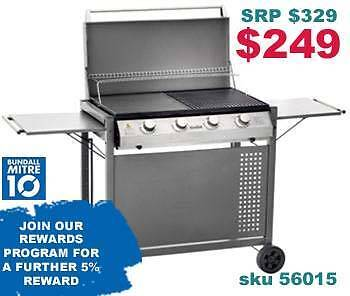 BBQ 4 BURNER GRILLED CUBE STYLE FLAT TRAY Bundall Gold Coast City Preview