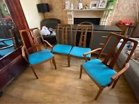 Superb set of 4 Nathan mid-century dining chairs