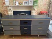 Retro vintage sideboard/chest of drawers - painted in Annie Sloan Graphite/Paris Grey/Versailles