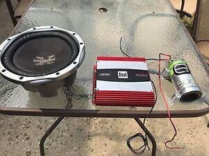 """10"""" sub 300watt amp and capacitor"""
