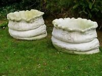 Large heavy stone garden Planters in the shape of sacks ( pair )