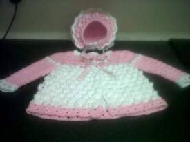 Hand crochet baby matinee coat and hat set, unworn.