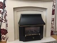 Marble fire place and gas fire