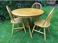 Hard wood table and chairs