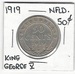 Newfoundland 50 Cents Very Good Condition Coin 1919