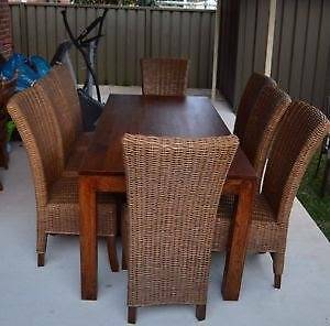 Wooden Dining Table & 6 Wicker Chairs set - Fantastic condition Annandale Leichhardt Area Preview