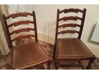 Pair of Solid Dark Oak Antique Ladder Back Dining Chairs