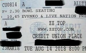 2 ZZ Top tickets Aug 14 2018 CUP Section A, Best offer