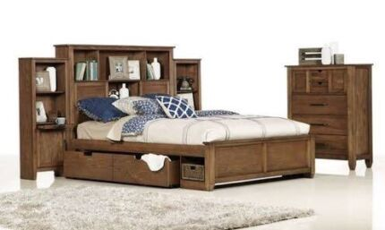 Gorgeous solid wood bedshed queen bed, tallboy and side tables