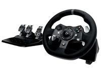 Logitech G920 xbox one force feedback steering wheel.