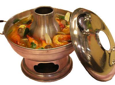Thai Aluminum Tom Yum Soup Serving Bowl Pot Tom Yum