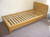 Birch single malm bed frame with slats $100. Free delivery