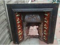 Cast Iron Fireplace Victorian/Edwardian Vintage Antique Original Tiled fireplace fire surround