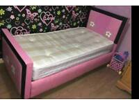 Leather bed with memory foam mattress