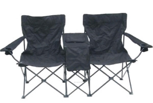 Double folding lawn chair with storage with carrying bag