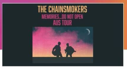 2 Tix to The Chainsmokers on Saturday 21st October in Sydney