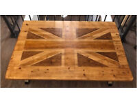 Union Jack Solid Oak / Industrial Coffee Table