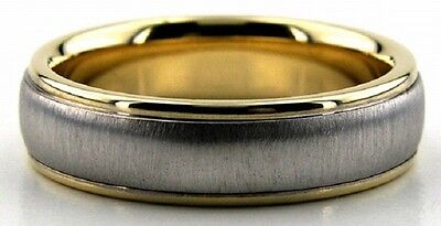 10K TWO TONE GOLD SHINY AND BRUSH FINISH UNISEX WEDDING BANDS RINGS HIS HERS