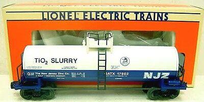 Lionel 17902 StdO NJ Zinc Tank Car for TIO2 Slurry White-BlueSprung T wPlatform