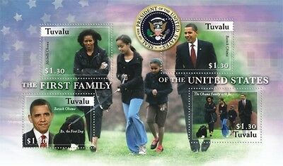 Tuvalu , Presidents Barack Obama and family, Sheetlet of 4 scott #1089