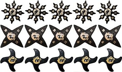 Ninja Martial Arts Rubber Foam Throwing Stars Practice Shuriken Star Set of 15