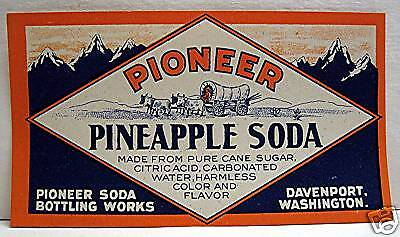 Pioneer Pineapple Soda Old Label Davenport Washington