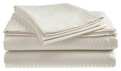 Queen Size White 400 Thread Count 100% Cotton Sateen Dobby Stripe Sheet Set Bedding