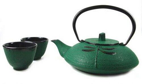 Green Cast Iron Tea Set 21-oz Teapot Teacups Tetsubin Dragon