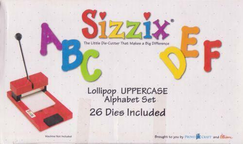 Sizzix lollipop alphabet die cutting machines dies ebay for Large letter die cuts