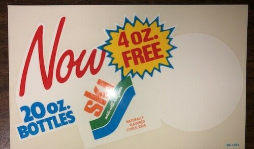 Vintage Original SKI SODA GROCERY STORE WINDOW Decal Unused 1980s NOS Cola