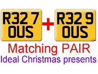 Pair R32 Cherished HIS & HERS private number plates ALL fees included R327OUS & R329OUS