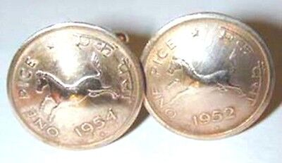 Running Horse cuff links-domed coins-1950-1955