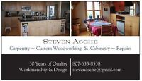 Cabinet and countertop installations, finishing, repairs,
