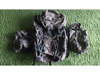 DPM Rucksack 90 L with 2 waterproof side pouch inserts and a large waterproof main insert