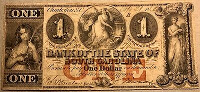 Bank Of The State Of South Carolina   Dollar   1861   Obsolete Banknote   G22c