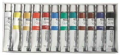 (EUR 2,43 / 100 ml) 12 Tuben Acrylfarbe Set mit je 12ml