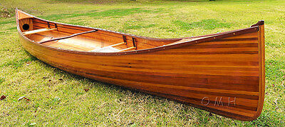 Cedar Wood Strip Built Canoe 18' Feet Wooden Boat Without No RIBS Woodenboat USA