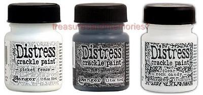Tim Holtz Distress Crackle Paint Basic Picket Fence Black Soot Clear Rock Candy