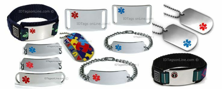 Medical Id Bracelets and Dog Tags.