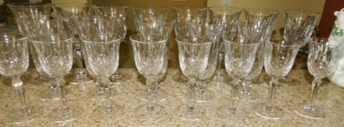 "TIFFIN FRANCISCAN ELYSE CRYSTAL 7.5"" WATER GLASSES SET OF 8 MINT"