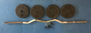 Curl Bar with 40 pounds weight plates
