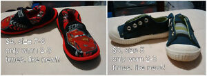 Baby boy shoes size 5, cars slippers size 7-8